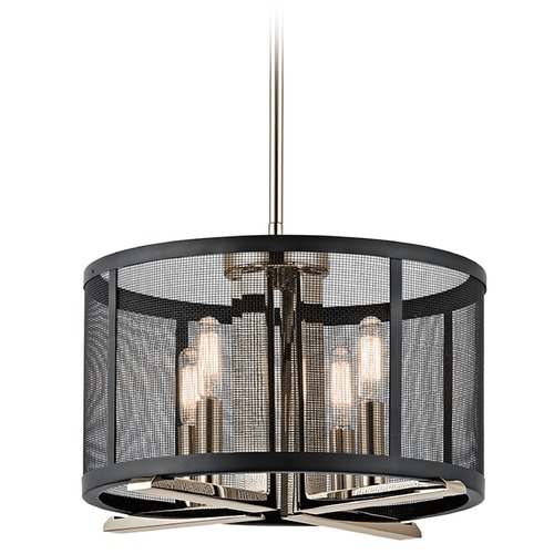 Kichler Lighting Kichler Lighting Titus Polished Nickel Pendant Light with Drum Shade 43713PN