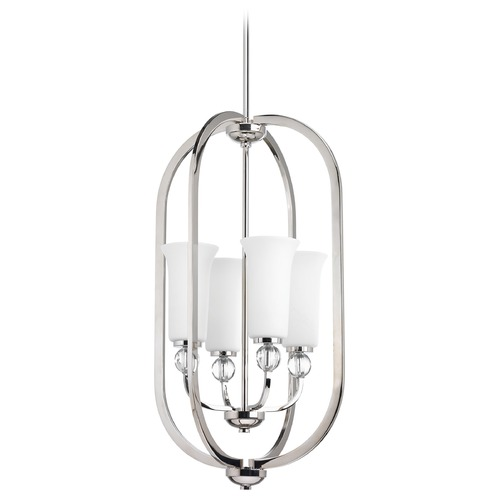 Progress Lighting Progress Lighting Elina Polished Nickel Pendant Light with Bell Shade P3987-104