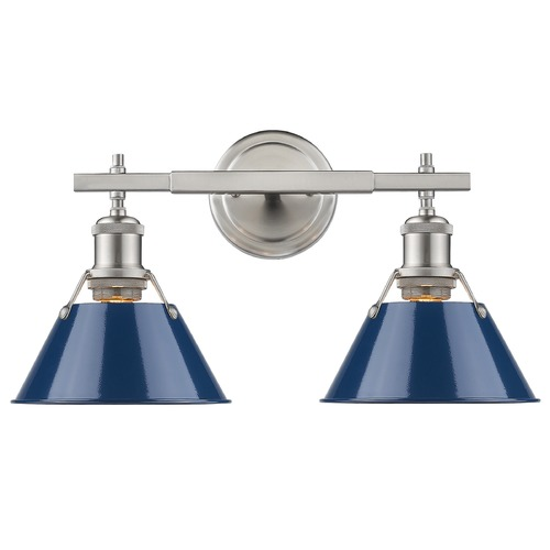 Golden Lighting Golden Lighting Orwell Pw Pewter Bathroom Light 3306-BA2 PW-NVY