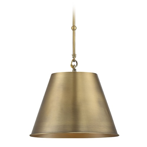 Savoy House Savoy House Lighting Alden Warm Brass Pendant Light with Empire Shade 7-132-1-322