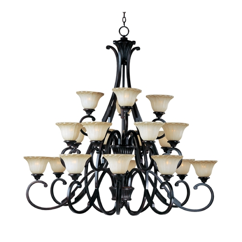Maxim Lighting Chandelier with Beige / Cream Glass in Oil Rubbed Bronze Finish 13507WSOI