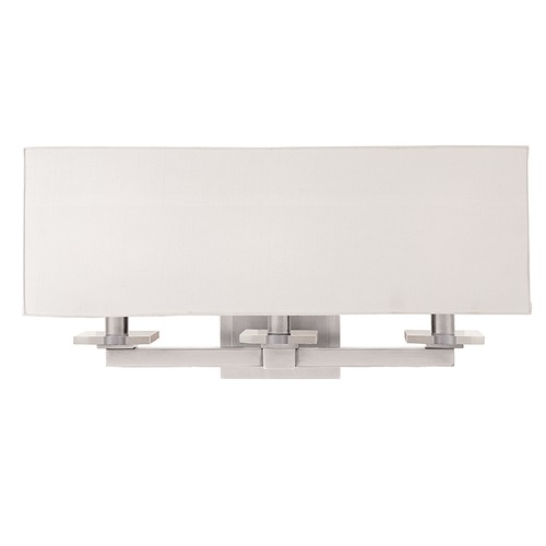 Hudson Valley Lighting Modern Sconce Wall Light with White Shades in Satin Nickel Finish 393-SN