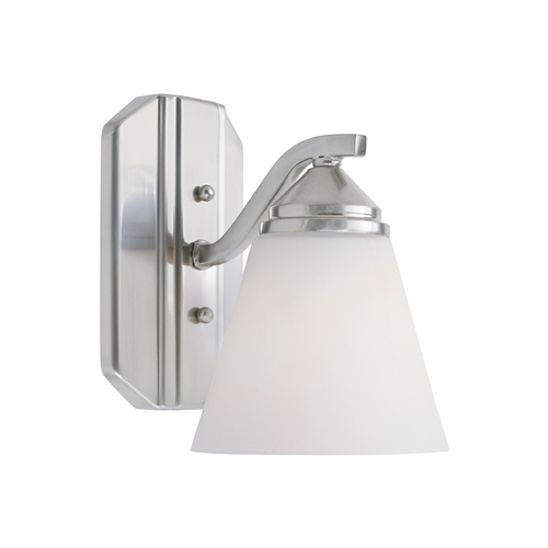 Designers Fountain Lighting Sconce Wall Light with White Glass in Satin Platinum Finish 6601-SP