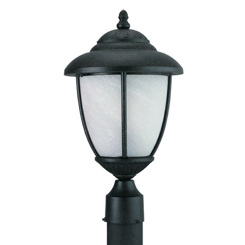 Sea Gull Lighting Post Light with White Glass in Forged Iron Finish 82048-185