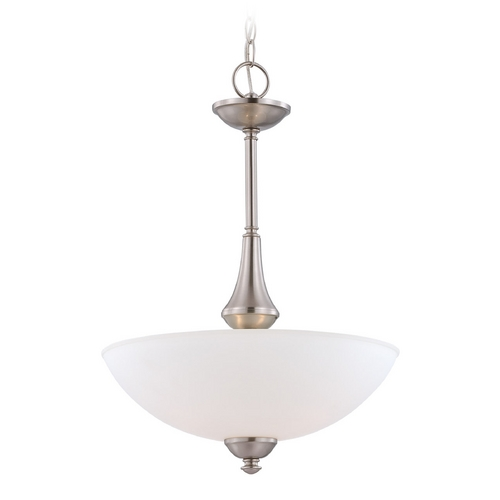Nuvo Lighting Pendant Light with White Glass in Brushed Nickel Finish 60/5038