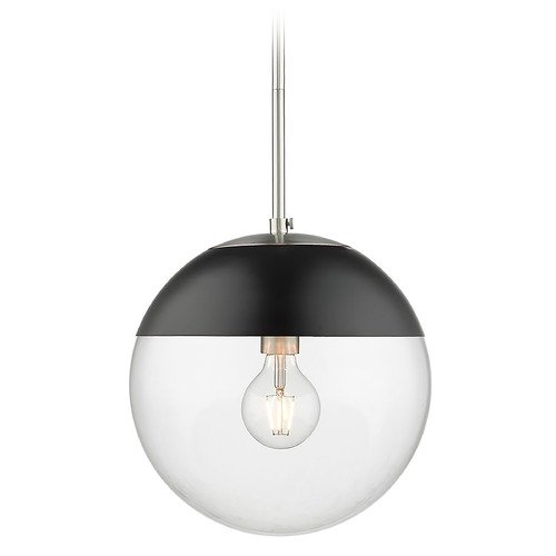 Golden Lighting Golden Lighting Dixon Pewter Pendant Light with Globe Shade and Black Accent 3219-LPW-BLK