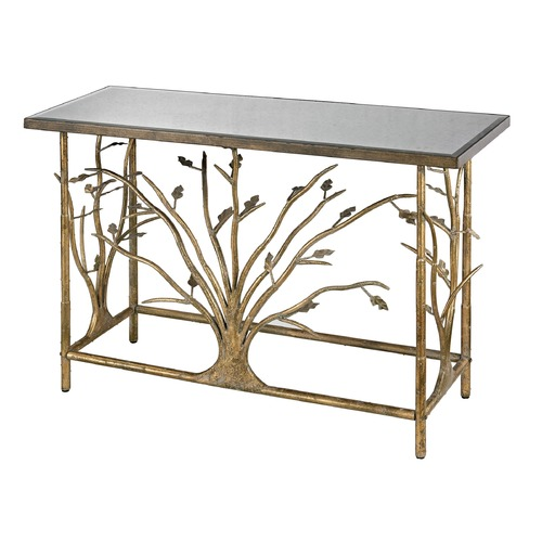 Sterling Lighting Gold Leafed Metal Branch Console Table With Antique Mirrored Top 114-95