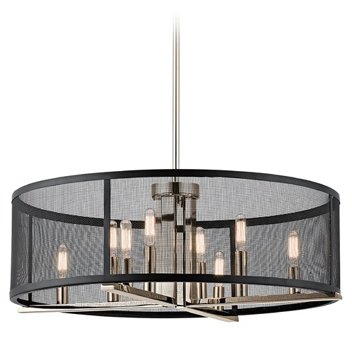 Kichler Lighting Kichler Lighting Titus Polished Nickel Pendant Light with Drum Shade 43715PN