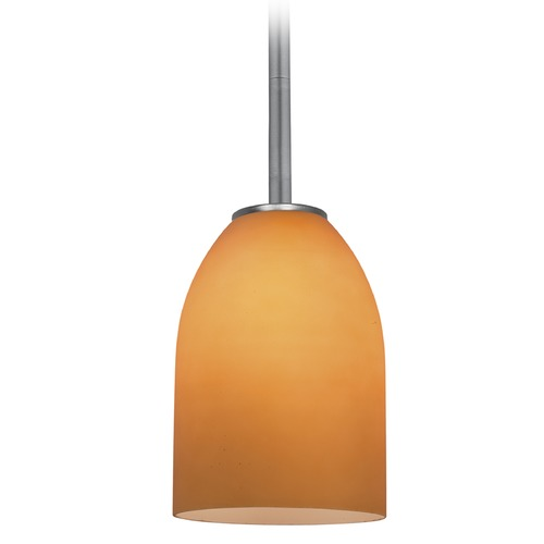 Access Lighting Access Lighting Bordeaux Brushed Steel LED Mini-Pendant Light with Bowl / Dome Shade 28018-4R-BS/AMB