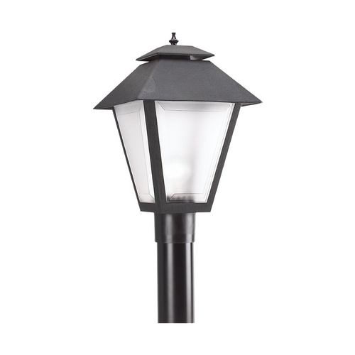Sea Gull Lighting Post Light with White Glass in Black Finish 82065-12