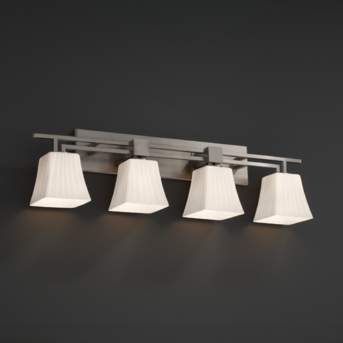 Justice Design Group Justice Design Group Fusion Collection Bathroom Light FSN-8704-40-RBON-NCKL