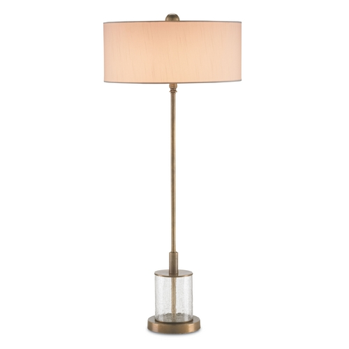Currey and Company Lighting Currey and Company Lighting Antique Brass / Crackle Table Lamp with Drum Shade 6753