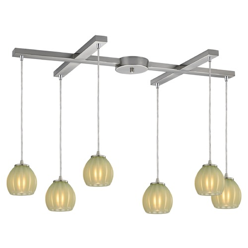 Elk Lighting Elk Lighting Melony Satin Nickel Multi-Light Pendant with Bowl / Dome Shade 10421/6JD
