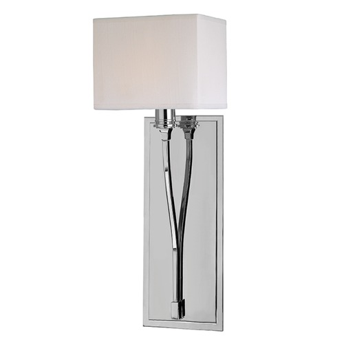 Hudson Valley Lighting Modern Sconce Wall Light with White Shade in Polished Nickel Finish 641-PN