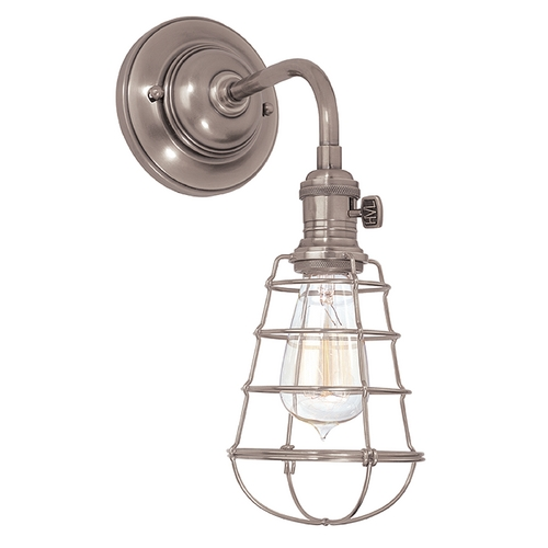 Hudson Valley Lighting Sconce Wall Light with Brown Tones Cage Shade in Historic Nickel Finish 8000-HN-WG