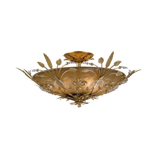 Crystorama Lighting Crystal Semi-Flushmount Light with Amber Glass in Gold Leaf Finish 4704-GL