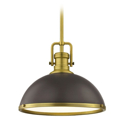 Design Classics Lighting Farmhouse Industrial Satin Brass Pendant Light 13.38-Inch Wide 1763-12 SH1776-220 R1776-12