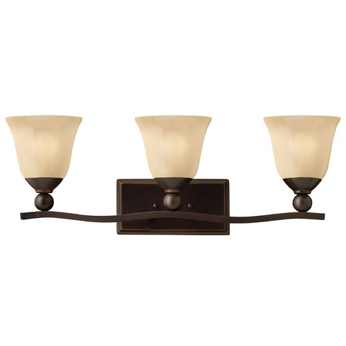 Hinkley Lighting Bathroom Light with Amber Glass in Olde Bronze Finish 5893OB
