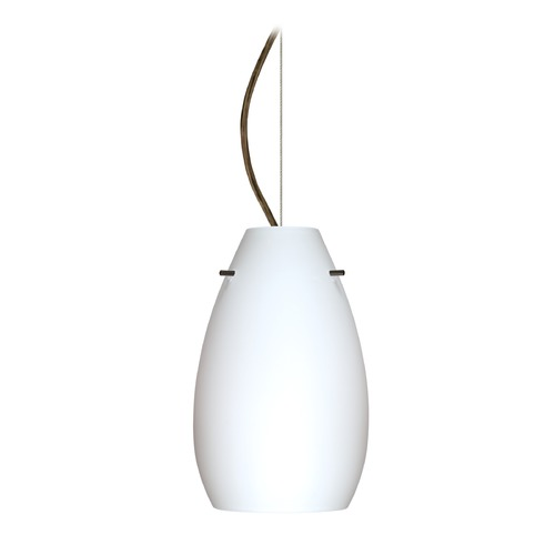 Besa Lighting Besa Lighting Pera Bronze LED Mini-Pendant Light with Oblong Shade 1KX-412607-LED-BR