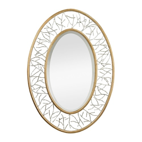 Sterling Lighting Gold Leafed Metal Branch Framed Mirror With Silver Accents 114-98