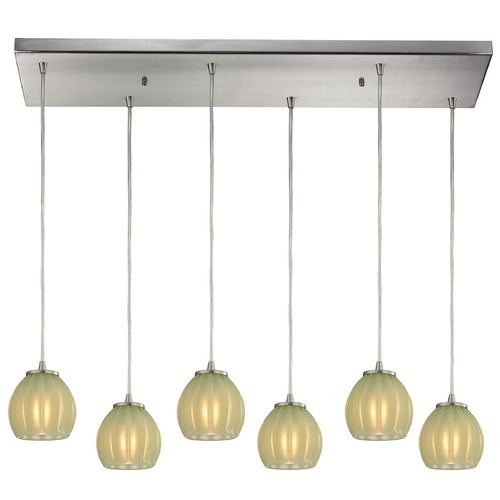 Elk Lighting Elk Lighting Melony Satin Nickel Multi-Light Pendant with Bowl / Dome Shade 10421/6RC-JD
