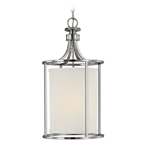 Capital Lighting Capital Lighting Midtown Polished Nickel Pendant Light with Cylindrical Shade 9047PN-478