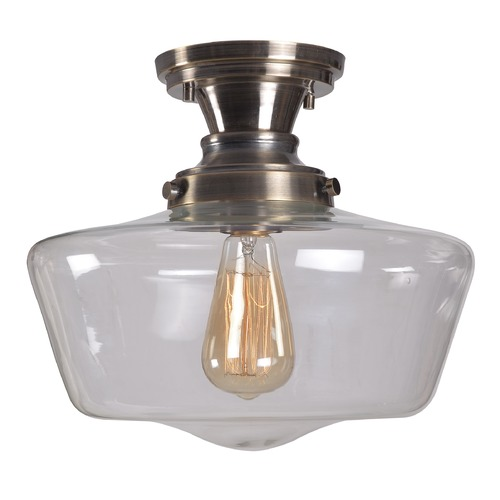 Kenroy Home Lighting Kenroy Home Cambridge Aged Metal Semi-Flushmount Light 93660AGM