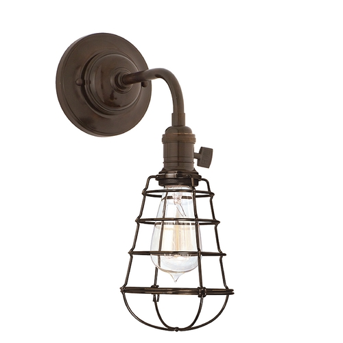 Hudson Valley Lighting Sconce Wall Light with Brown Cage Shade in Old Bronze Finish 8000-OB-WG