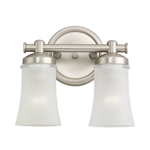 Sea Gull Lighting Modern Bathroom Light with White Glass in Antique Brushed Nickel Finish 44483-965