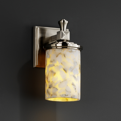 Justice Design Group Justice Design Group Alabaster Rocks! Collection Sconce ALR-8531-10-NCKL
