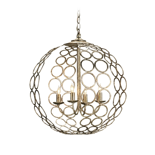 Currey and Company Lighting Modern Pendant Light in Antique Silver Leaf Finish 9961