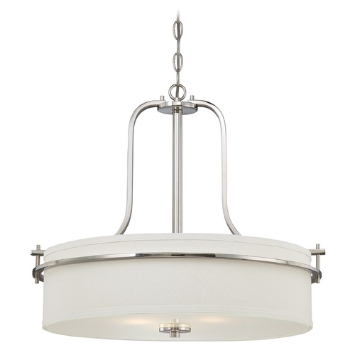 Nuvo Lighting Drum Pendant Light with White Shades in Polished Nickel Finish 60/5108