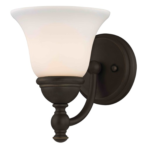 Design Classics Lighting Satin White Glass Traditional Sconce - Bolivian Finish 2926-78 GL1032-WH
