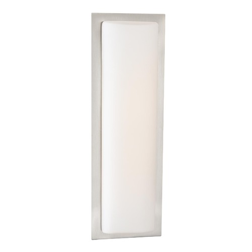 George Kovacs Lighting Modern LED Sconce Wall Light with White Glass in Brushed Aluminum Finish P563-144A-L