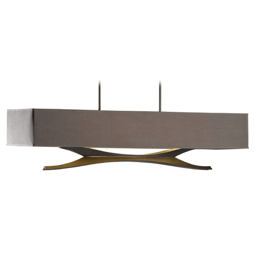 Hubbardton Forge Lighting Hubbardton Forge Lighting Moreau Dark Smoke Island Light with Rectangle Shade 137655-07-591