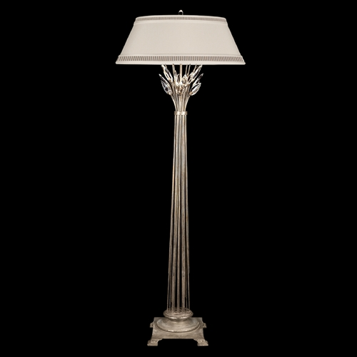 Fine Art Lamps Fine Art Lamps Crystal Laurel Antiqued Warm Silver Leaf Floor Lamp with Empire Shade 758820ST