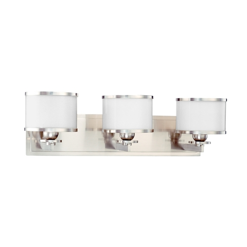 Hudson Valley Lighting Bathroom Light with White Glass in Satin Nickel Finish 6103-SN