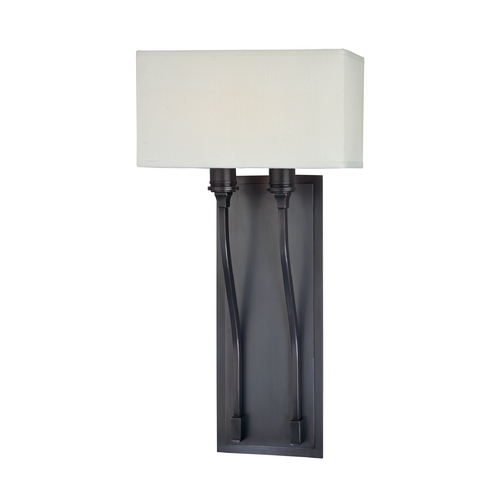Hudson Valley Lighting Modern Sconce Wall Light with White Shades in Old Bronze Finish 642-OB
