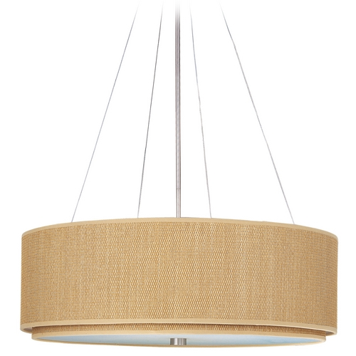 ET2 Lighting Modern Pendant Light with Brown Shades in Satin Nickel Finish E95165-101SN