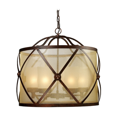 Elk Lighting Drum Pendant Light with Amber Glass in Classic Bronze Finish 14052/6