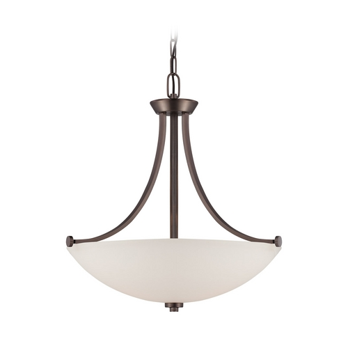 Nuvo Lighting Pendant Light with White Glass in Hazel Bronze Finish 60/5116