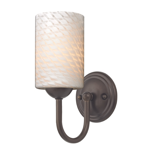 Design Classics Lighting Sconce with White Art Glass in Bronze Finish 593-220 GL1020C
