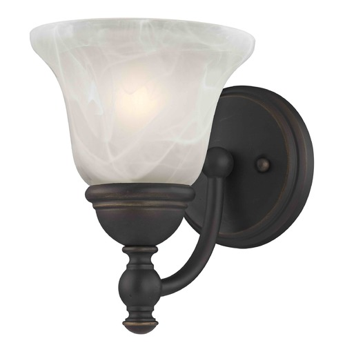 Design Classics Lighting Alabaster Glass Traditional Sconce - Bolivian Finish 2926-78 GL1032-ALB