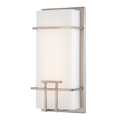 George Kovacs Lighting Modern LED Sconce Wall Light with White Glass in Brushed Nickel Finish P465-084-L