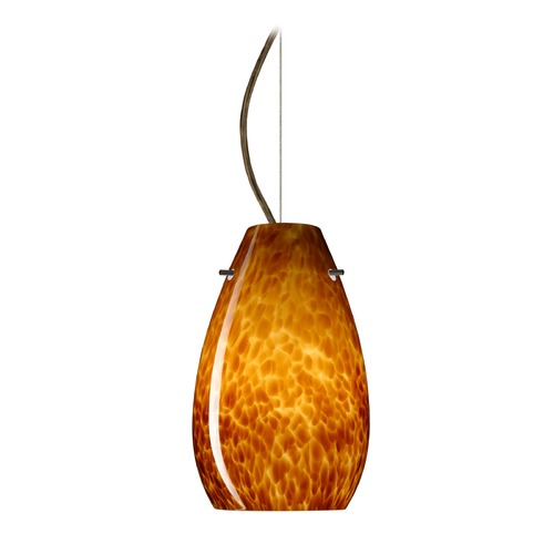 Besa Lighting Besa Lighting Pera Bronze LED Mini-Pendant Light with Oblong Shade 1KX-412618-LED-BR