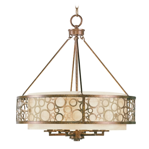 Livex Lighting Livex Lighting Avalon Palacial Bronze with Gilded Accents Pendant Light with Drum Shade 8676-64