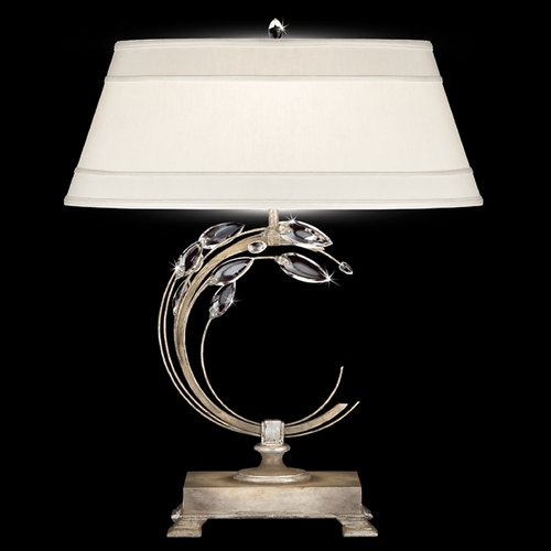Fine Art Lamps Fine Art Lamps Crystal Laurel Antiqued Warm Silver Leaf Table Lamp with Oval Shade 758610ST