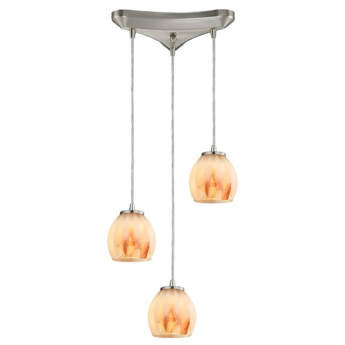 Elk Lighting Elk Lighting Melony Satin Nickel Multi-Light Pendant with Bowl / Dome Shade 10421/3TS