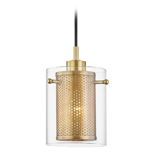 Mitzi by Hudson Valley Mitzi By Hudson Valley Elanor Aged Brass Mini-Pendant Light with Cylindrical Shade H323701-AGB