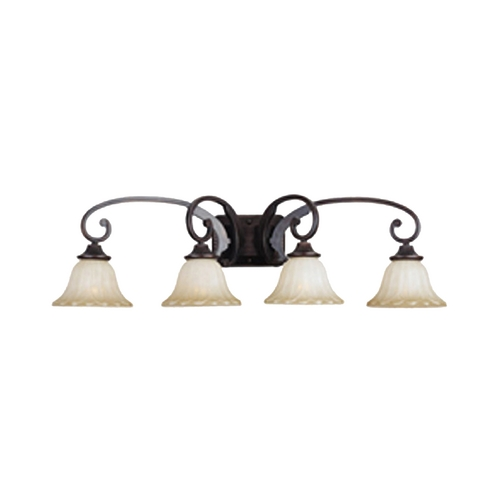 Maxim Lighting Bathroom Light with Beige / Cream Glass in Oil Rubbed Bronze Finish 13514WSOI